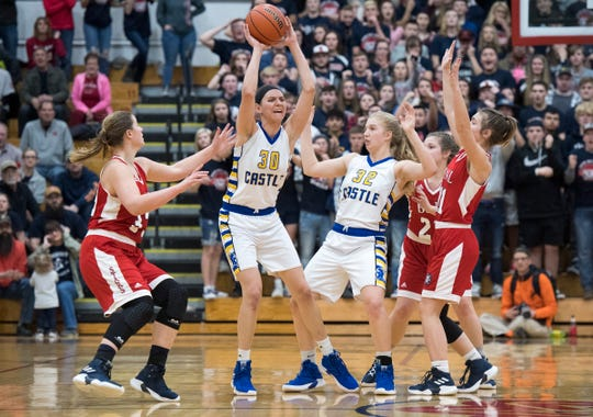 Jessica Nunge (30) lifted Castle to its first Class 4A semistate berth since 2006. The Knights will play Lawrence North at 2 p.m. CST on Saturday at Jeffersonville.