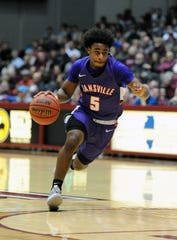 Evansville guard Shamar Givance drives to the basket in a 78-73 loss at Southern Illinois on Saturday.