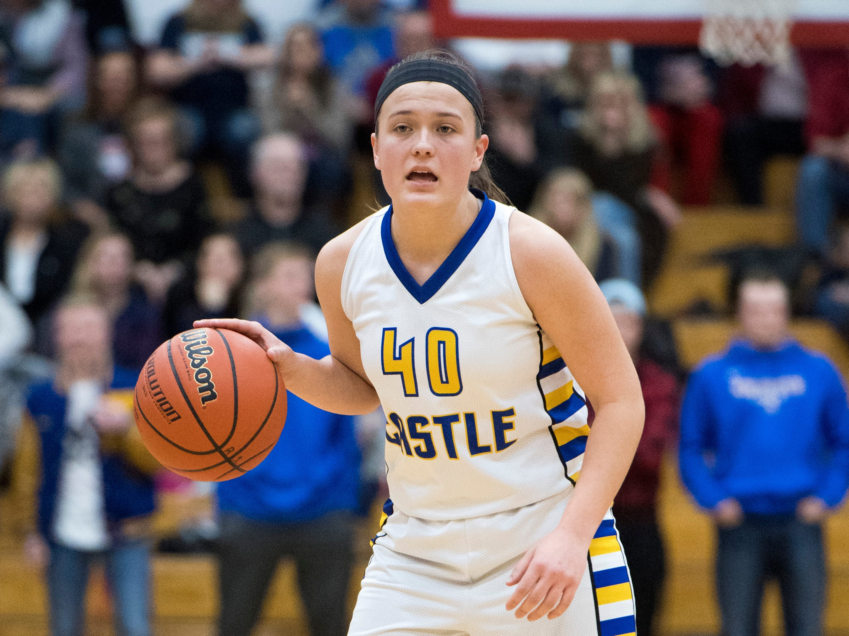 Castle's Mckenna Tutt (40) calls a play during the  IHSAA Girls Basketball Class 4A Regional Championship game against the Bedford North Lawrence Lady Stars at the Stars Field House in Bedford, Ind. Saturday, Feb. 9, 2019.