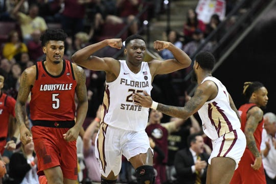 FSU redshirt sophomore forward Mfiondu Kabengele (25) celebrating after a clutch basket in the second half of FSU's game against Louisville at the Tucker Center on February 9, 2019.