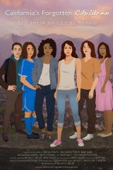 Six human trafficking survivors cover the documentary poster.