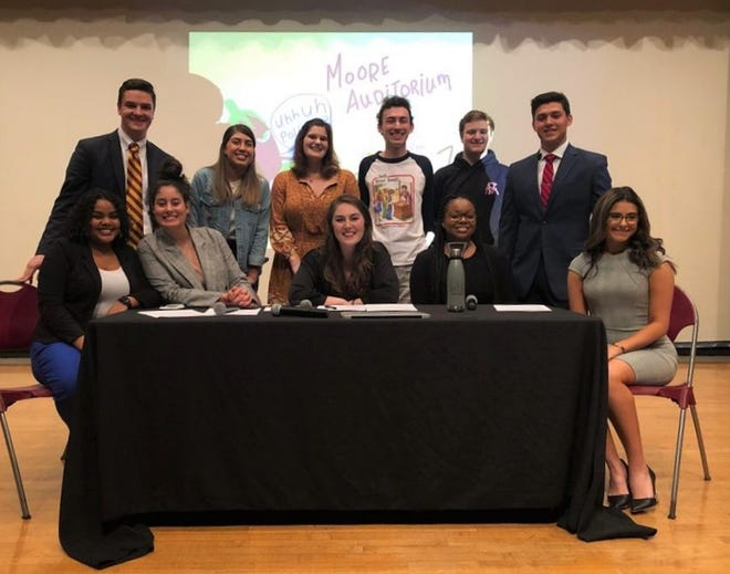 Candidates for student body offices with Unite and Legacy attend the Eggplant debate on February 7.