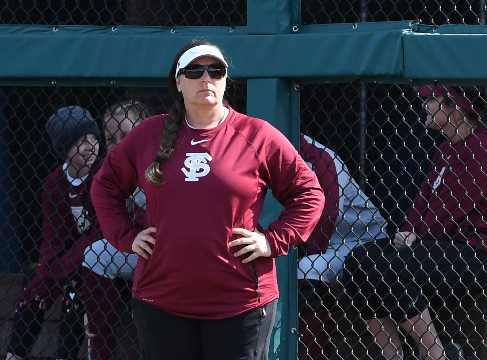 FSU head coach Lonni Alameda coaching in FSU's game against UNCG at Joanne Graf field on February 9, 2019.