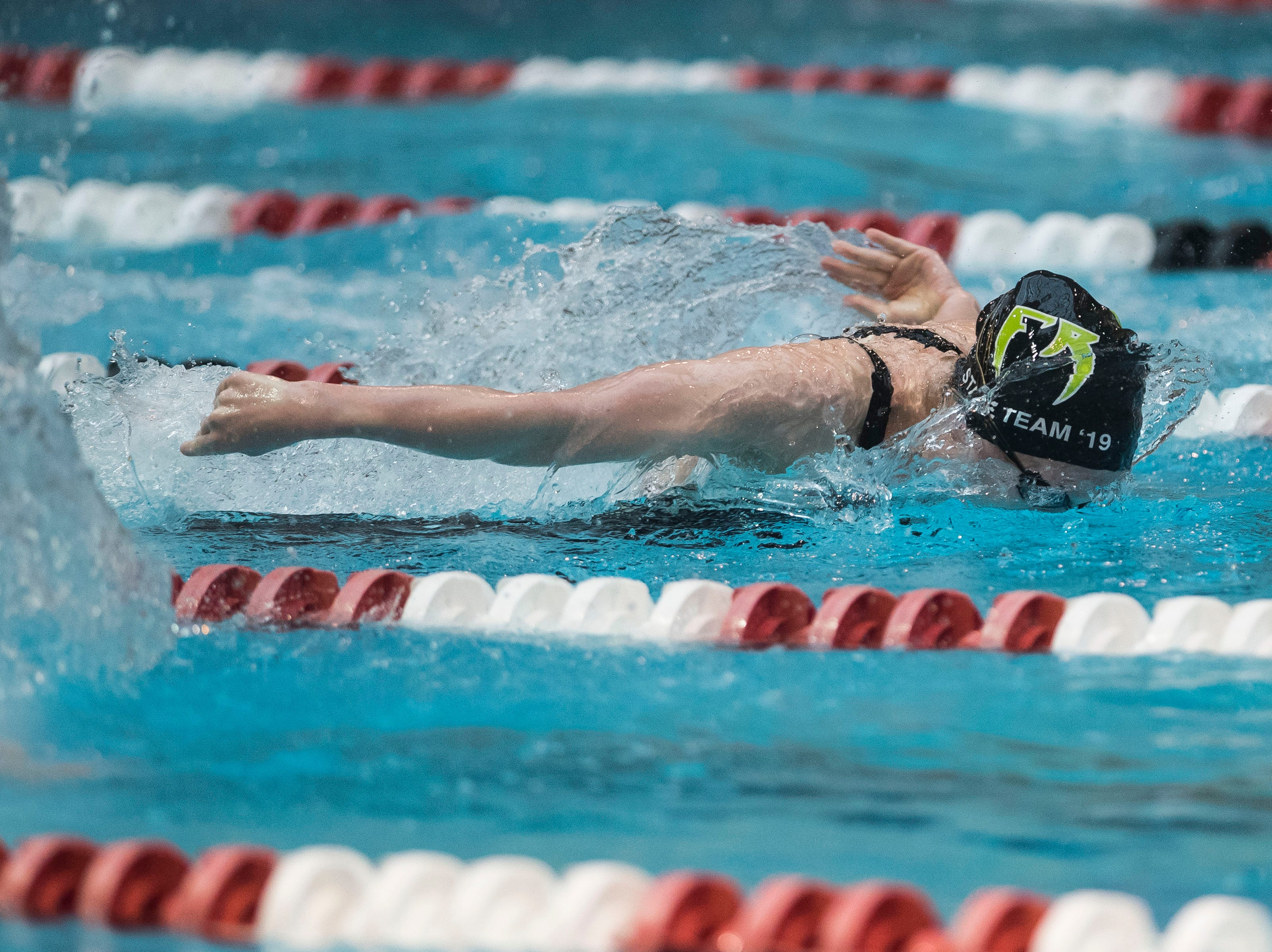 Fossil Ridge sophomore Emily Rinker competes in the women's 200 yard individual medley on Saturday, Feb. 9, 2019, at Veterans Memorial Aquatic Center in Thornton, Colo.