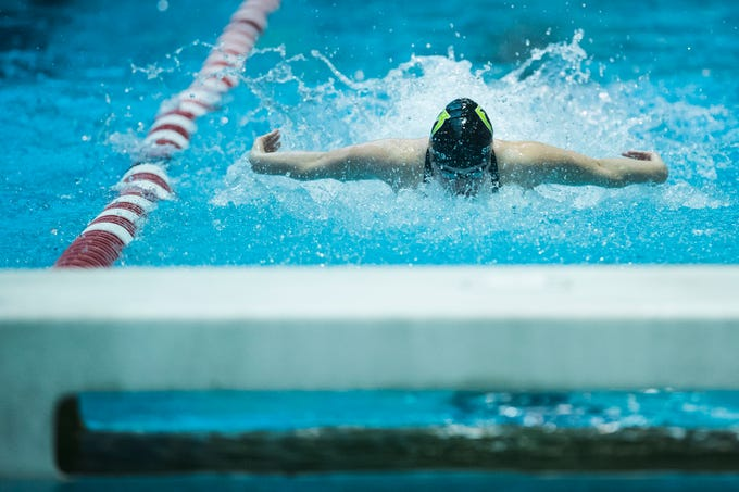 Fossil Ridge senior Coleen Gillilan competes in the women's 200 yard medley relay on Saturday, Feb. 9, 2019, at Veterans Memorial Aquatic Center in Thornton, Colo.