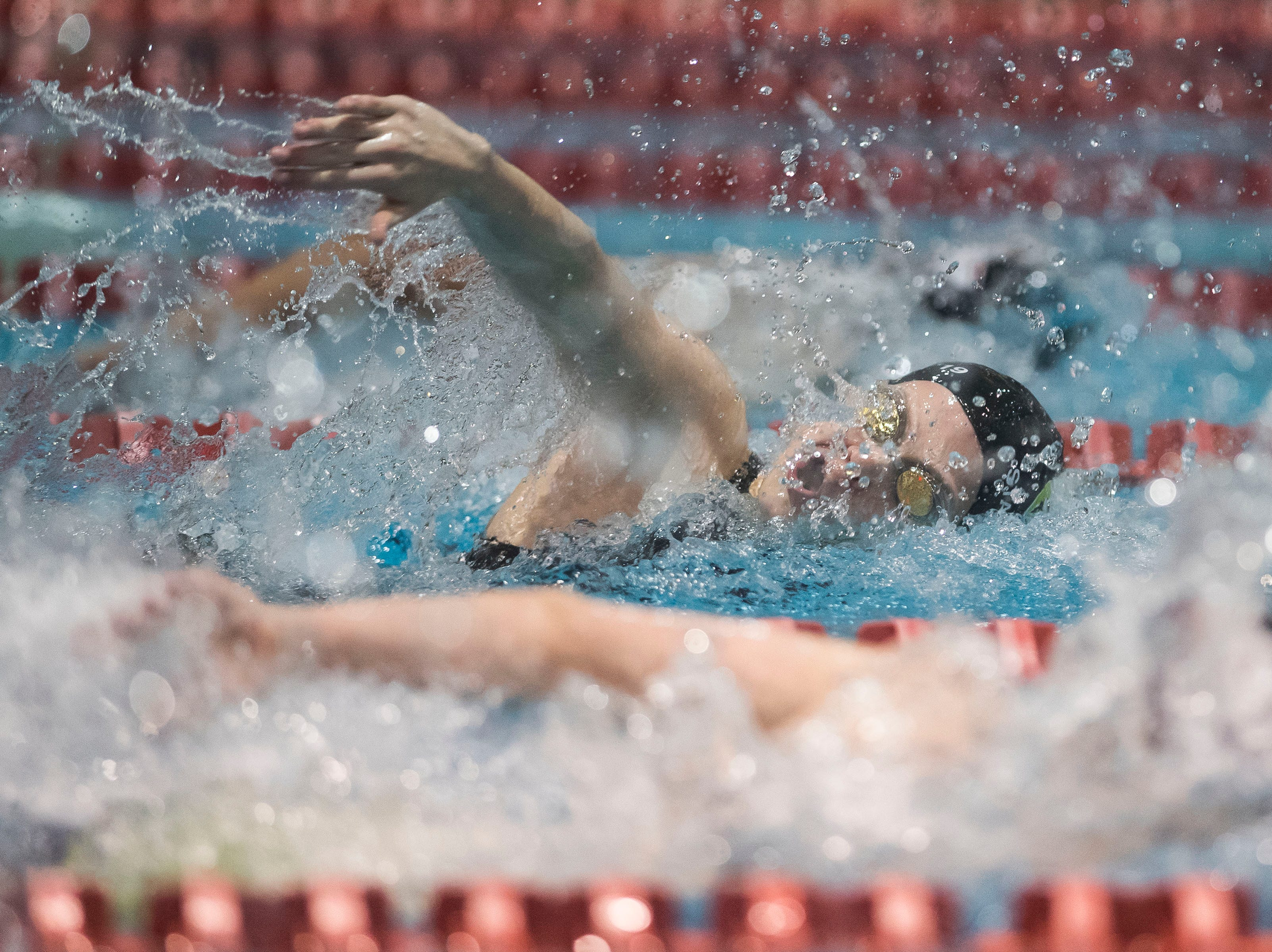 Fossil Ridge sophomore Mahala Erlandson competes in the women's 400 yard freestyle relay on Saturday, Feb. 9, 2019, at Veterans Memorial Aquatic Center in Thornton, Colo.