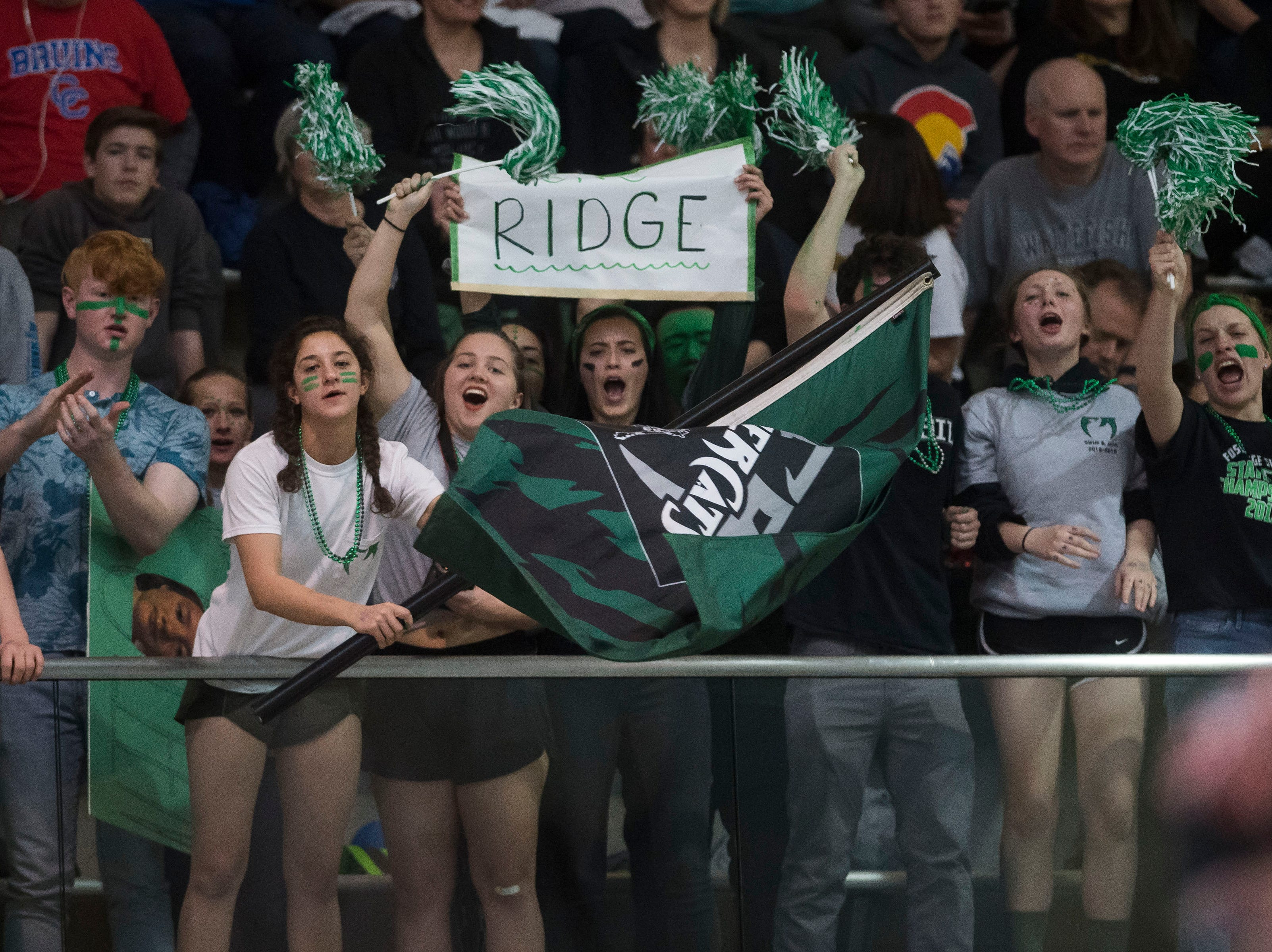 Fossil Ridge High School students cheer their team on during the Colorado Girl's 5A State Championship on Saturday, Feb. 9, 2019, at Veterans Memorial Aquatic Center in Thornton, Colo.