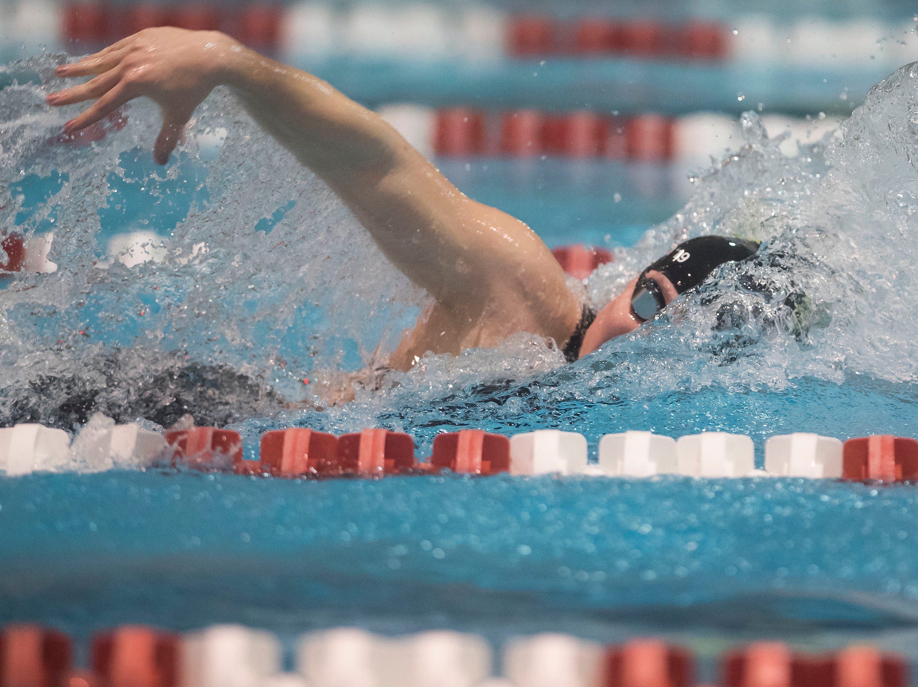 Fossil Ridge senior Coleen Gillilan anchors her team in their win in the women's 400 yard freestyle relay on Saturday, Feb. 9, 2019, at Veterans Memorial Aquatic Center in Thornton, Colo.