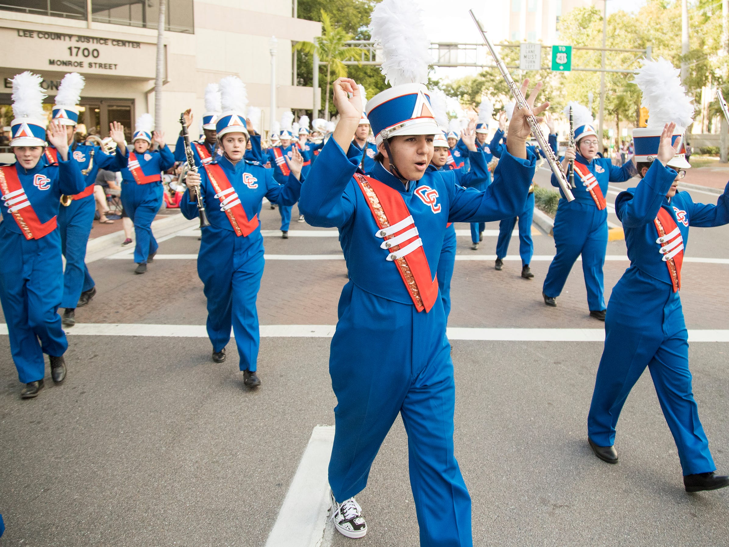 The Cape Coral High School band marches in the Edison Festival of Light Junior Parade on Sunday in downtown Fort Myers. More than 70 groups participated in the annual event.