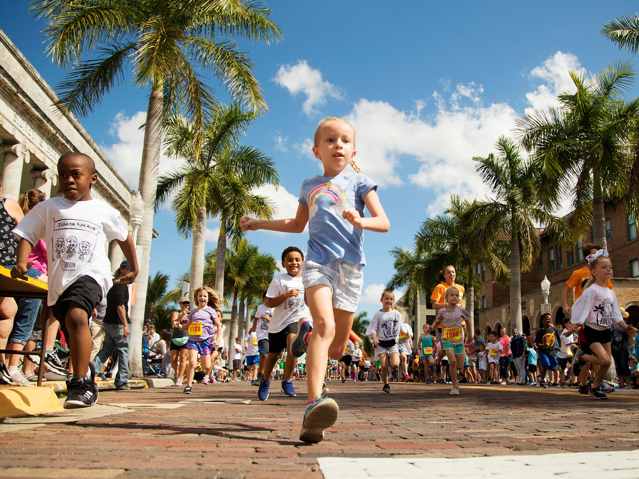 More than 300 kids raced in the Edison Festival of Light Junior Fun Run on Sunday in downtown Fort Myers.
