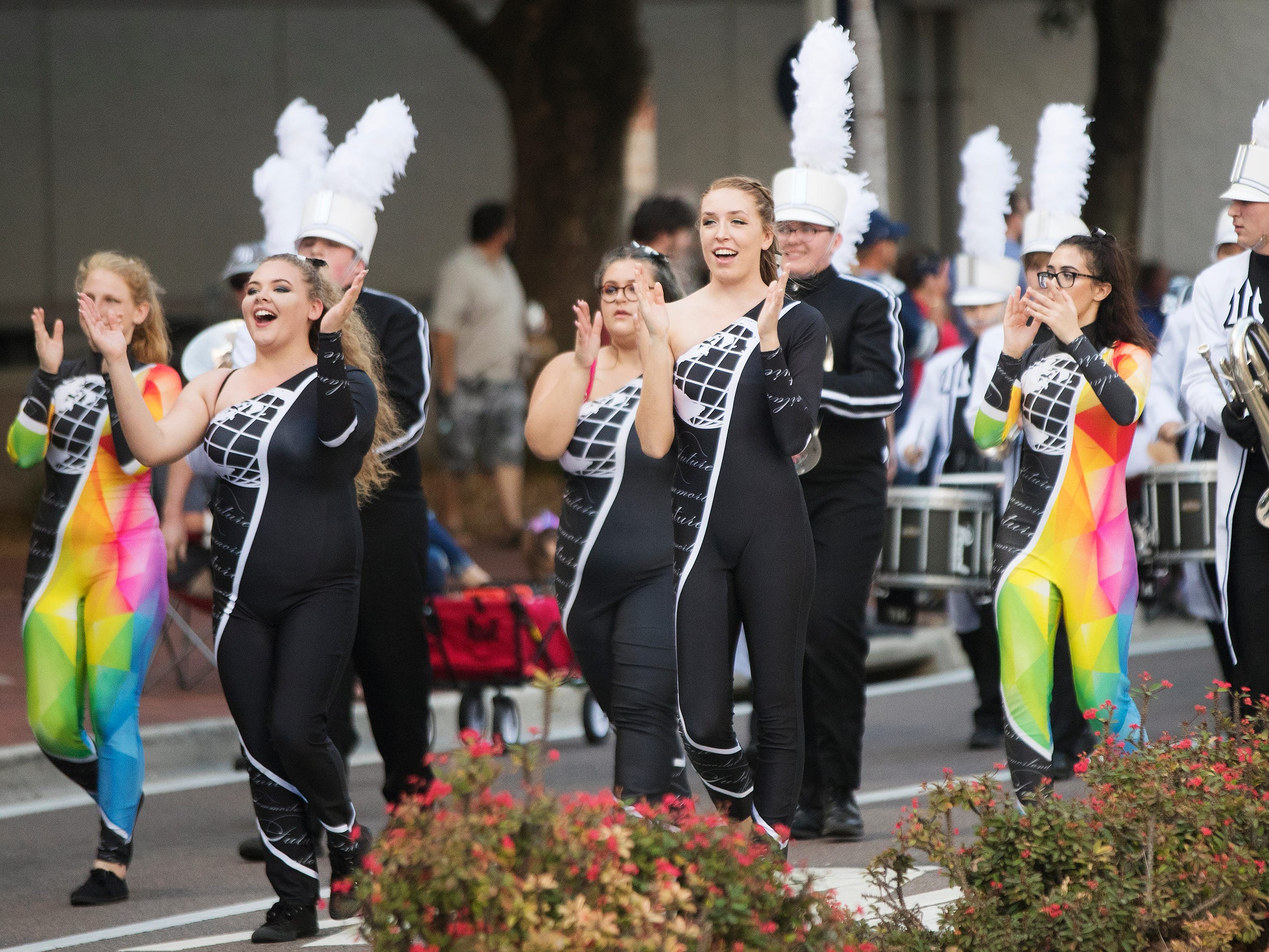 The Mariner High School band marches in the Edison Festival of Light Junior Parade on Sunday in downtown Fort Myers. More than 70 groups participated in the annual event.