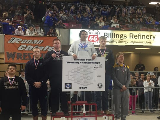 Great Falls High sophomore Ethan DeRoche picked up a state title at 285 Saturday at the Billings Metra.