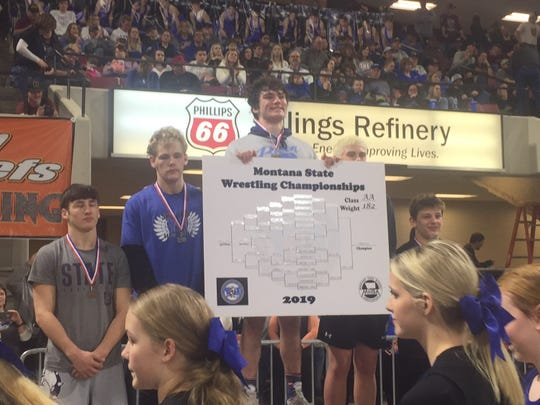 Great Falls High's Elijah Davis won a state title at 182 pounds at the Billings Metra Saturday.