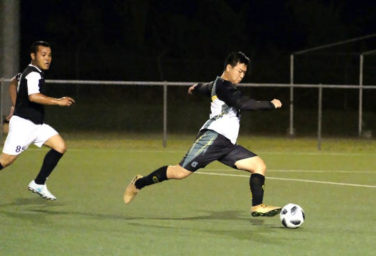 The University of Guam Tritons routed the Crushers Football Club 8-1 Friday in the GFA Amateur Men's League.
