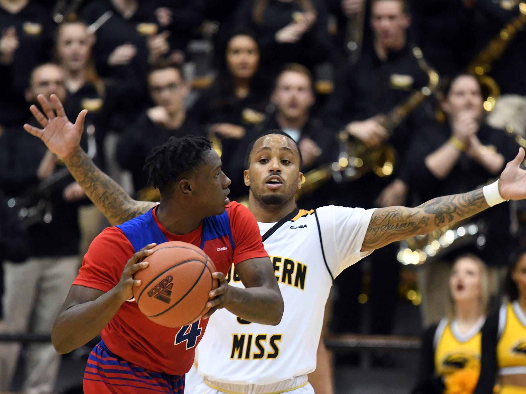Southern Miss guard Tyree Griffin defends a player in a game against Louisiana Tech in Reed Green Coliseum on Saturday, February 9, 2019.