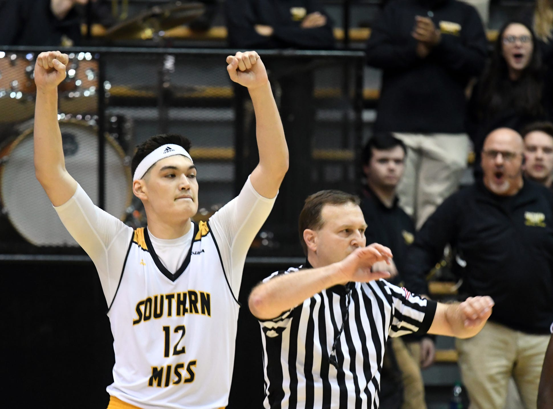 Southern Miss forward Tim Rowe celebrates after beating  Louisiana Tech in Reed Green Coliseum on Saturday, February 9, 2019.