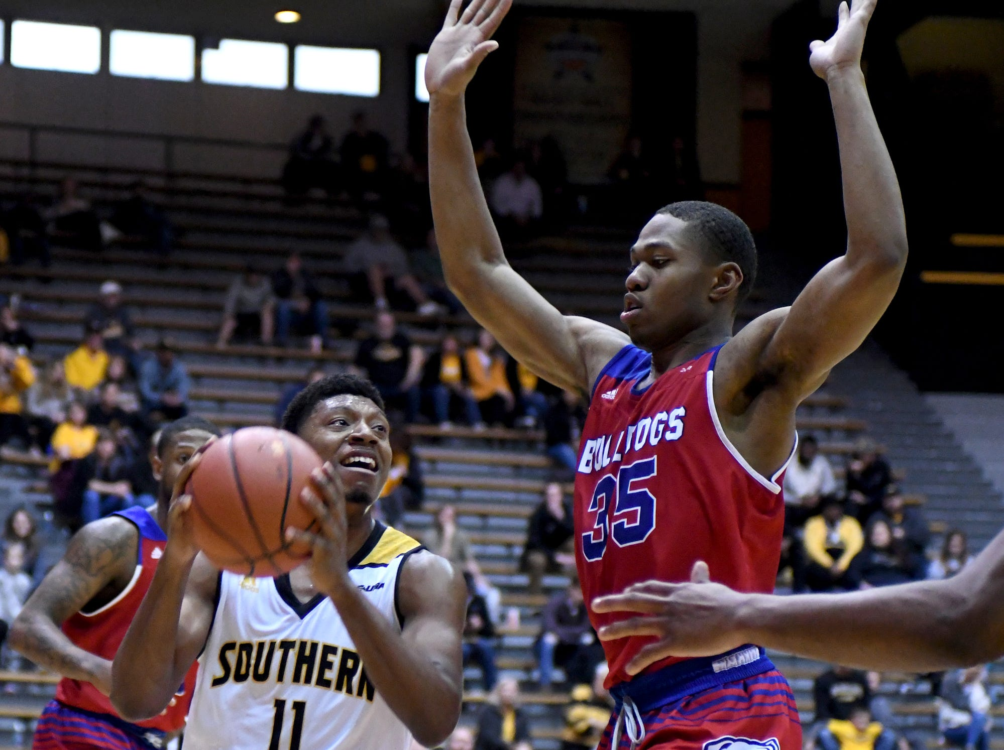 Southern Miss guard Tyree Griffin shoots for the basket in a game against Louisiana Tech in Reed Green Coliseum on Saturday, February 9, 2019.