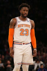 Feb 3, 2019; New York, NY, USA; New York Knicks guard Wesley Matthews (23) reacts during the fourth quarter against the Memphis Grizzlies at Madison Square Garden.