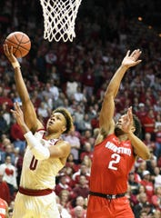 Indiana Hoosiers guard Romeo Langford (0) scores a basket during the game against Ohio State at Simon Skjodt Assembly Hall in Bloomington Ind., on Sunday, Feb. 10, 2019.