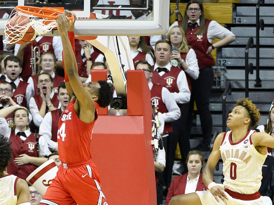 Indiana Hoosiers guard Romeo Langford (0) watches as Ohio State Buckeyes forward Andre Wesson (24) scores the game-winning dunk during the game against Ohio State at Simon Skjodt Assembly Hall in Bloomington Ind., on Sunday, Feb. 10, 2019.