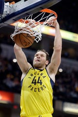 Indiana Pacers' Bojan Bogdanovic dunks during the first half of an NBA basketball game against the Cleveland Cavaliers, Saturday.