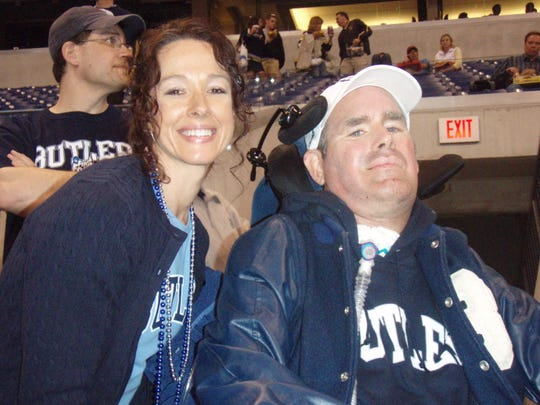 Shartrina and Matt White, a former Butler runner who had ALS. White died on Feb. 8, 2019.  This photo was taken at the 2010 Final Four at Lucas Oil Stadium.