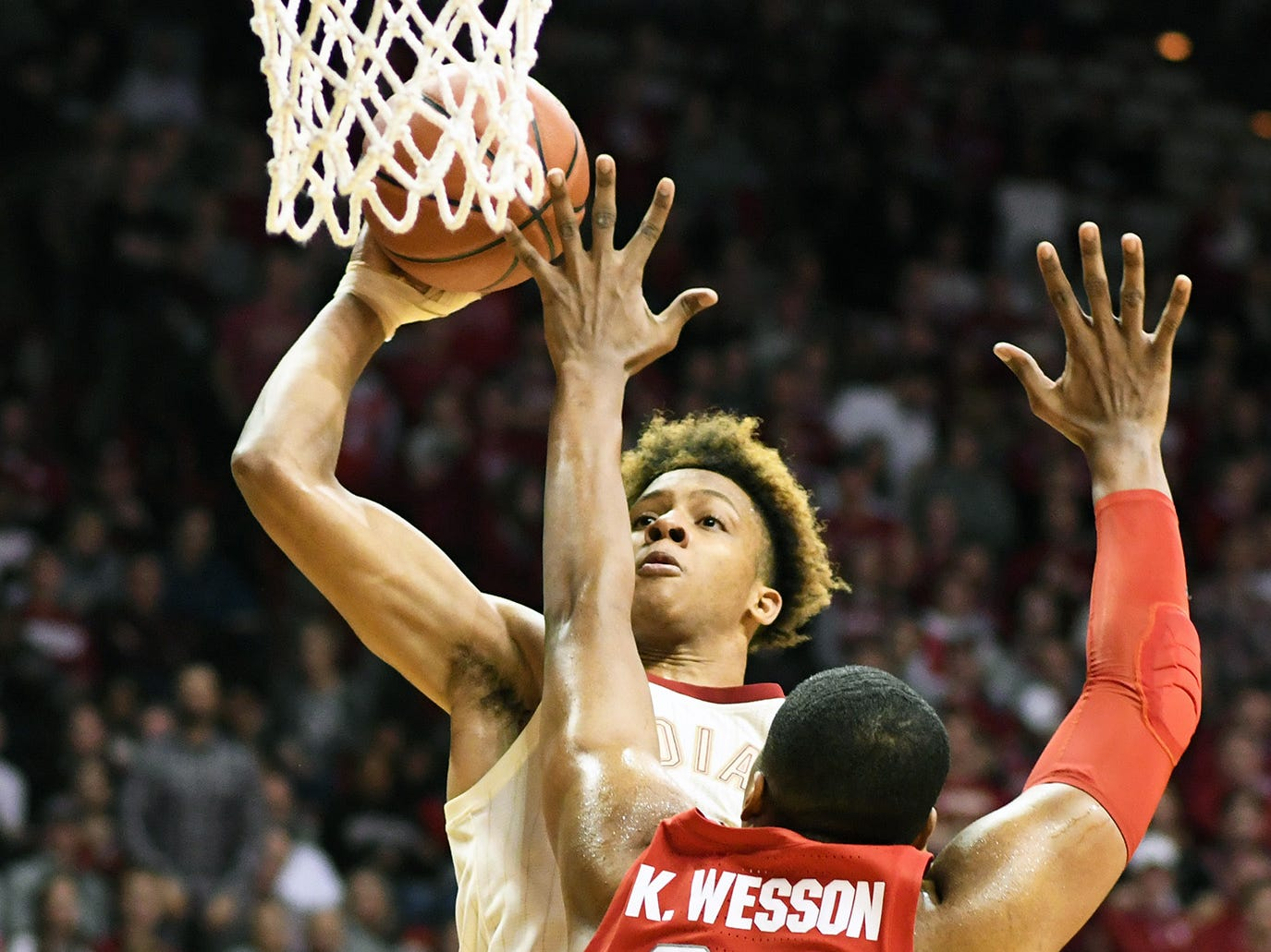 Indiana Hoosiers guard Romeo Langford (0) goes up for a dunk during the game against Ohio State at Simon Skjodt Assembly Hall in Bloomington Ind., on Sunday, Feb. 10, 2019.