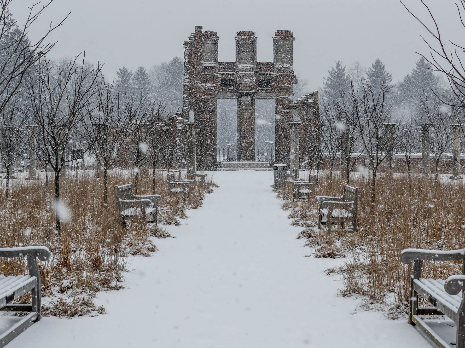 Snow falls on the Holliday Park ruins in Indianapolis on Sunday, Feb. 10, 2019.