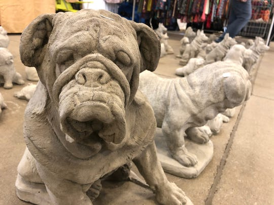 Concrete yard art created by Art Etzel of Norma's Yard Art on display at the Indy Winter Classic AKC Dog Show at the Indiana State Fairgrounds.