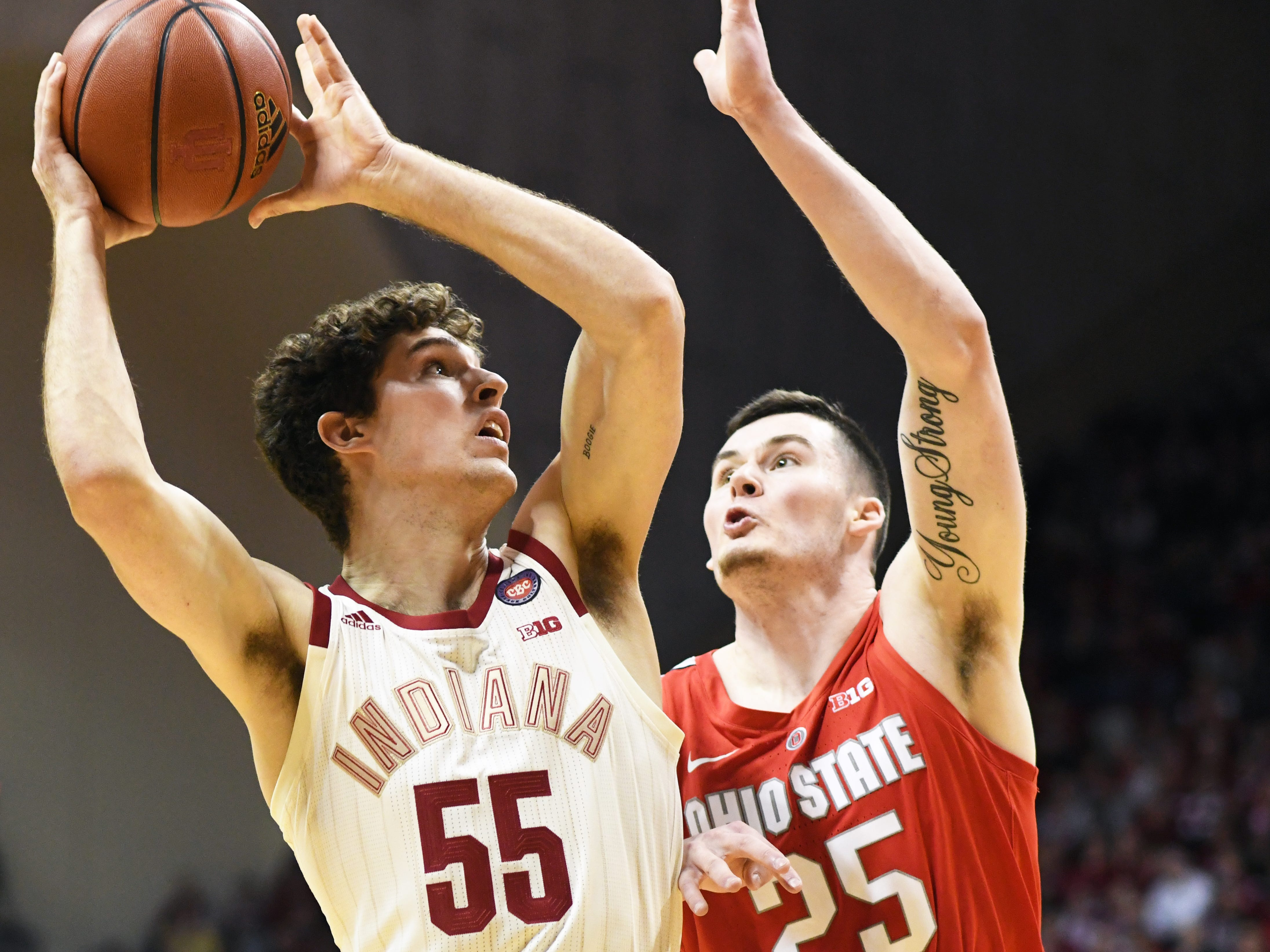 Indiana Hoosiers forward Evan Fitzner (55) attempts a shot during the game against Ohio State at Simon Skjodt Assembly Hall in Bloomington Ind., on Sunday, Feb. 10, 2019.