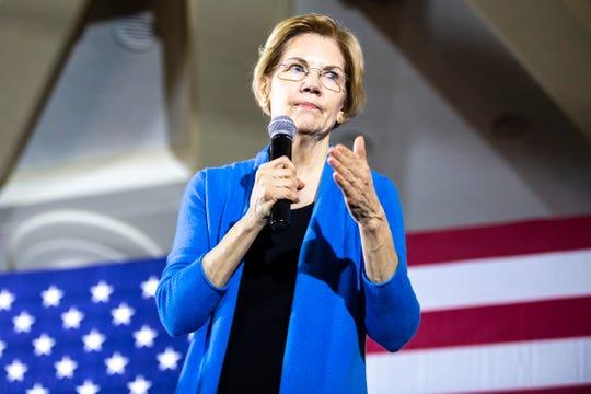 U.S. Sen. Elizabeth Warren, D-Mass, speaks during a campaign stop on Sunday, Feb. 10, 2019 at Iowa Memorial Union on the University of Iowa campus in Iowa City, Iowa.
