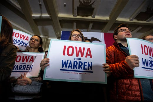 Supporters hold signs for U.S. Sen. Elizabeth Warren, D-Mass, while listening to her speak during a campaign stop on Sunday, Feb. 10, 2019 at Iowa Memorial Union on the University of Iowa campus in Iowa City, Iowa.