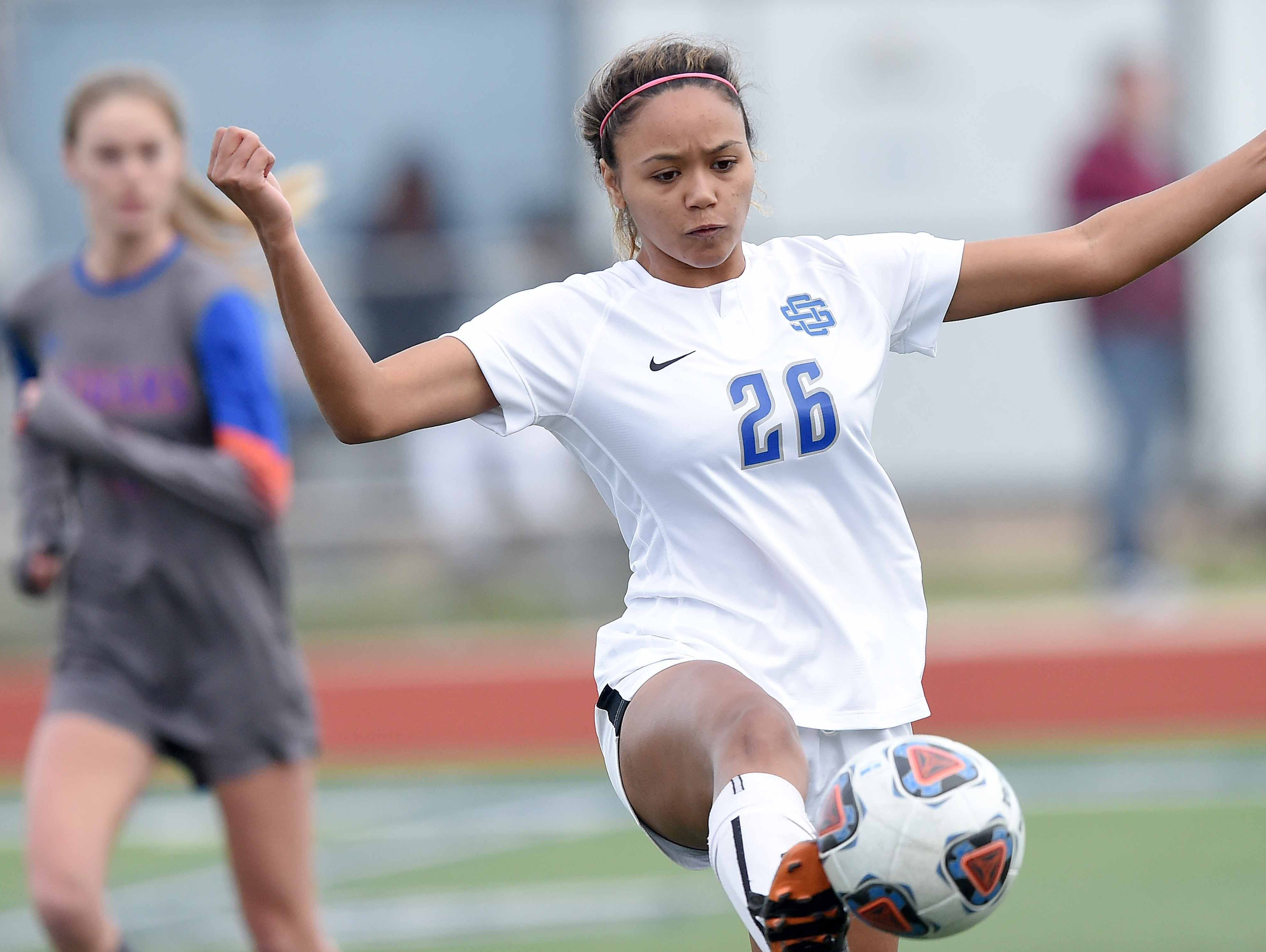 Ocean Springs' Ameris Taylor (26) stops a high pass near midfield in the Class 6A state championship in the MHSAA BlueCross Blue Shield of Mississippi Soccer Classic on Saturday, February 9, 2019, at Ridgeland High School in Ridgeland, Miss.