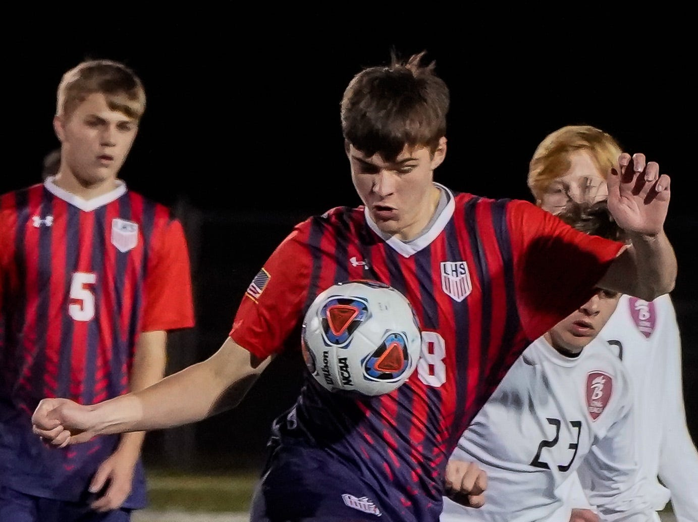 Lewisburg's Connor Murphy (18) controls a ball against Long Beach during the MHSAA 5A Boys Soccer Championships held at Brandon High School in Brandon, MS, Saturday February 9, 2019.(Bob Smith-For The Clarion Ledger)