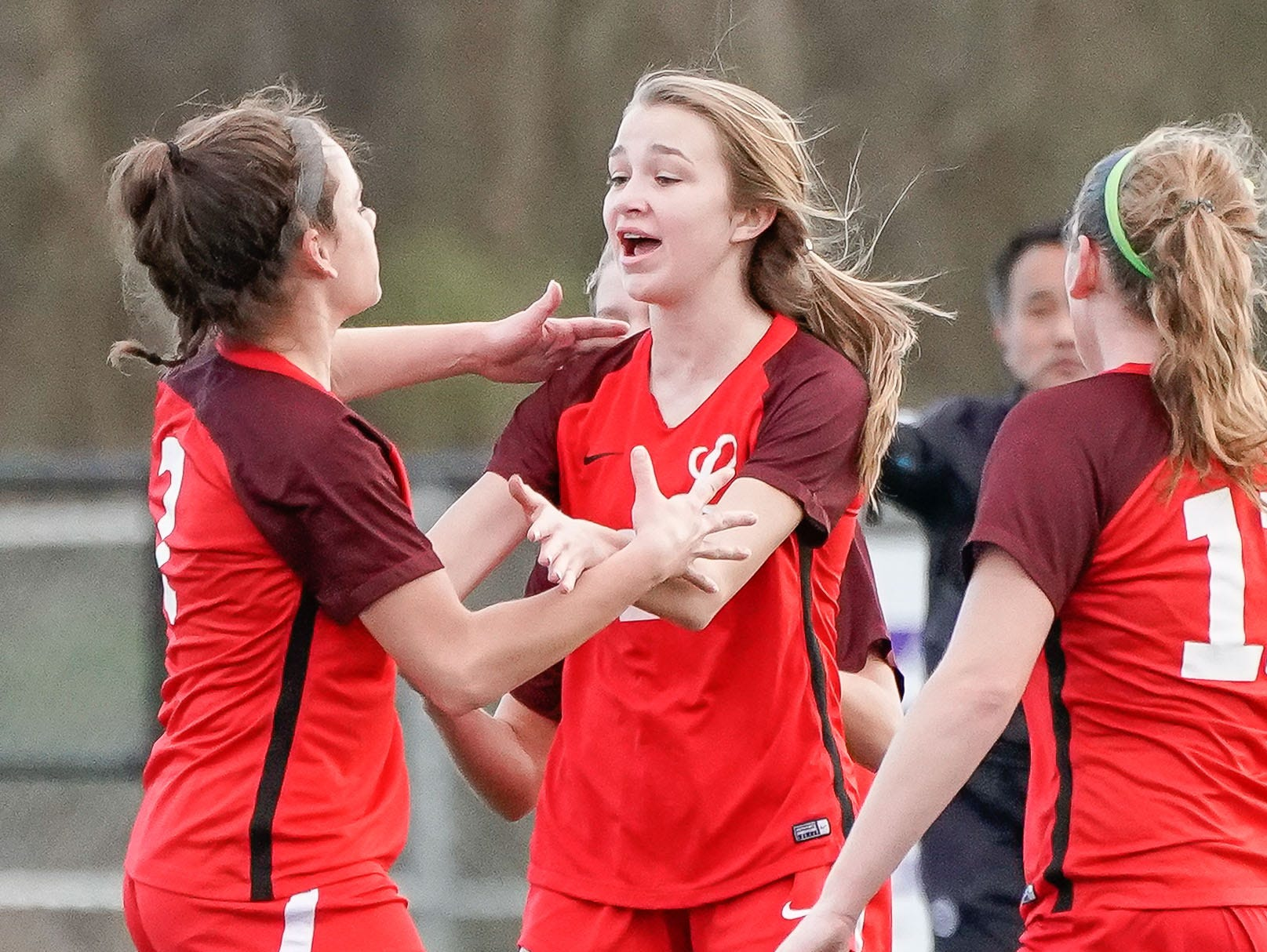 Lafayette girls celebrate a goal against Long Beach during the MHSAA 5A Girls Soccer Championships held at Brandon High School in Brandon, MS, Saturday February 9, 2019.(Bob Smith-For The Clarion Ledger)