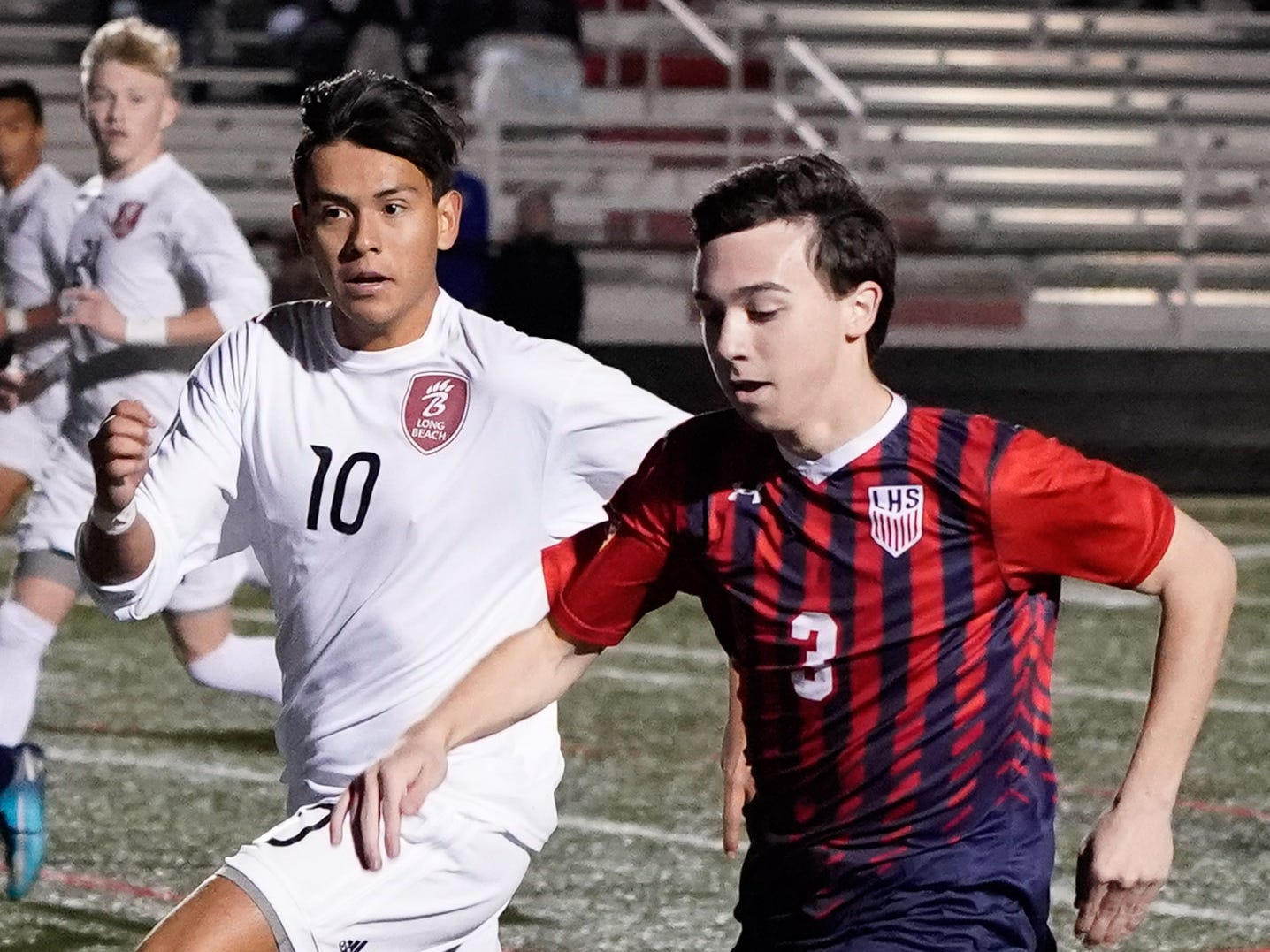 Lewisburg's Ty Greer (3) drives a ball upfield against Long Beach during the MHSAA 5A Boys Soccer Championships held at Brandon High School in Brandon, MS, Saturday February 9, 2019.(Bob Smith-For The Clarion Ledger)
