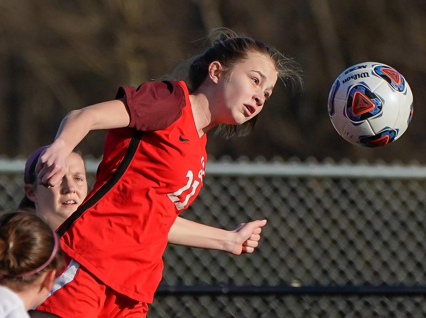 Lafayette's Lucy WIlson (21) heads a ball against Long Beach during the MHSAA 5A Girls Soccer Championships held at Brandon High School in Brandon, MS, Saturday February 9, 2019.(Bob Smith-For The Clarion Ledger)