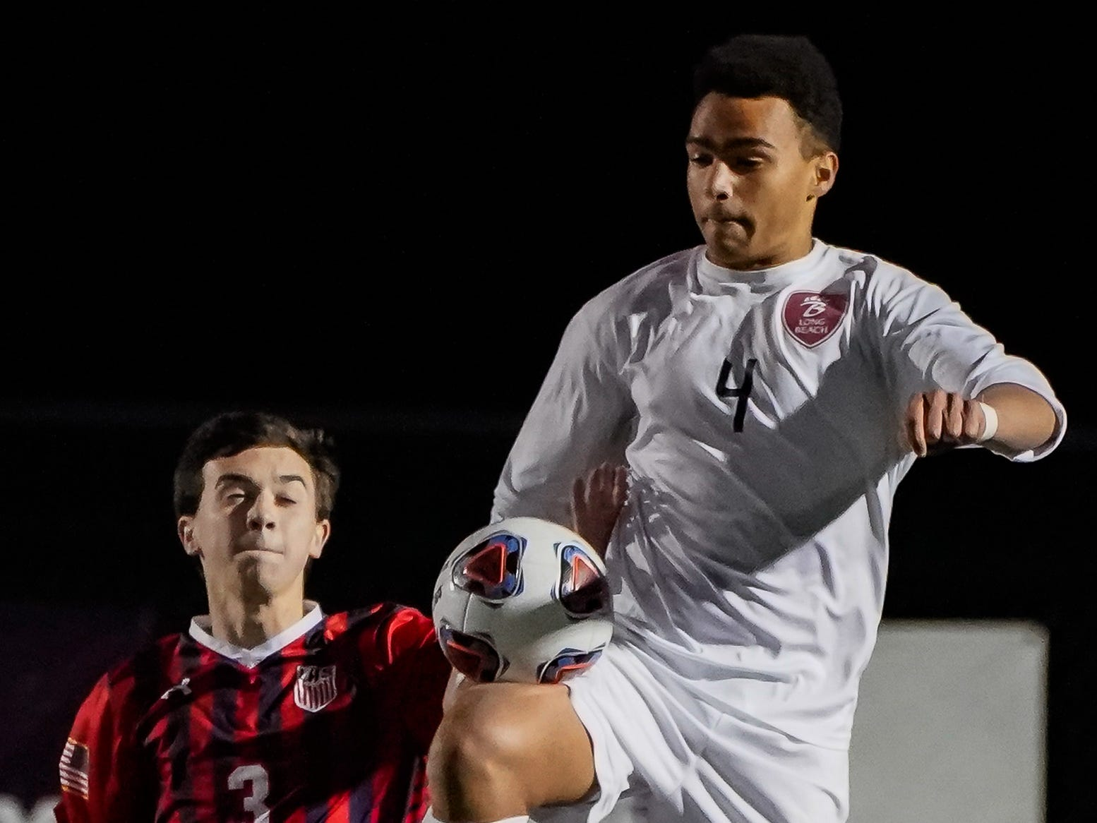 Long Beach's Noah Shockley (4) controls a ball against Lewisburg during the MHSAA 5A Boys Soccer Championships held at Brandon High School in Brandon, MS, Saturday February 9, 2019.(Bob Smith-For The Clarion Ledger)