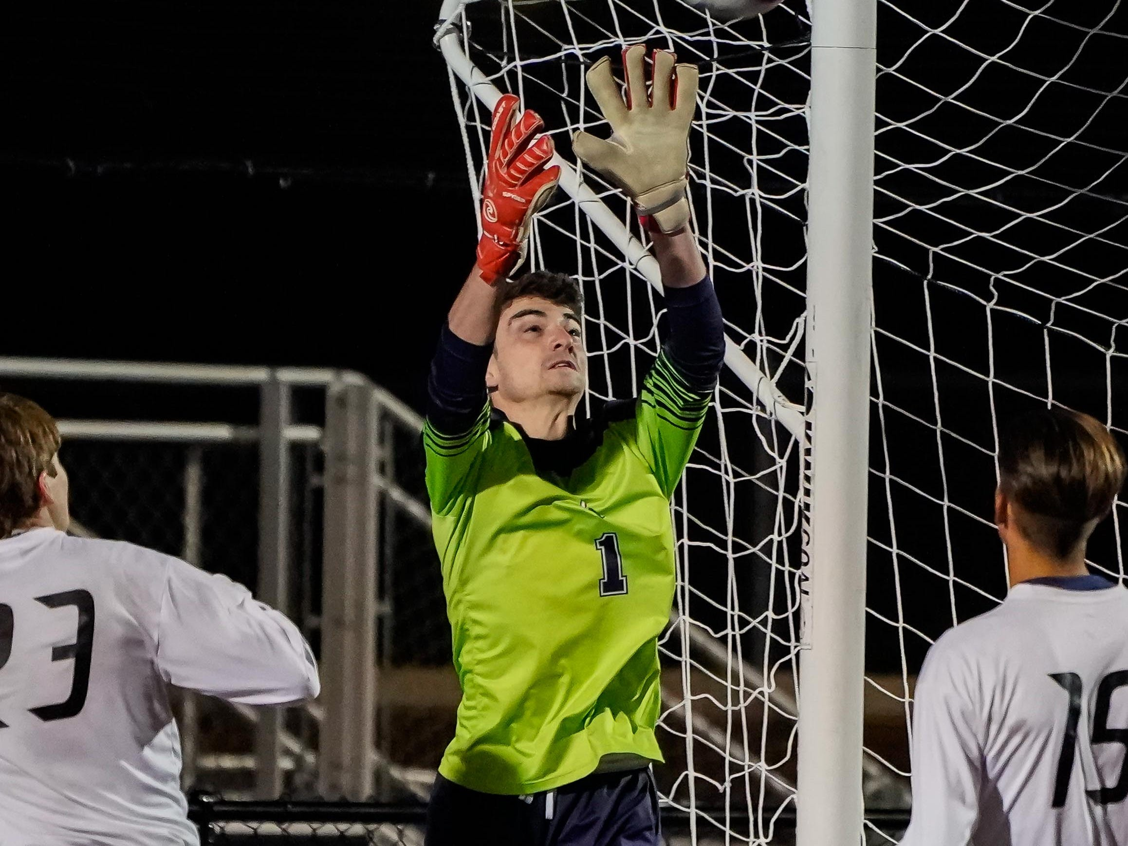 Lewisburg keeper Jason Hoffman (1) makes a save against Long Beach during the MHSAA 5A Boys Soccer Championships held at Brandon High School in Brandon, MS, Saturday February 9, 2019.(Bob Smith-For The Clarion Ledger)