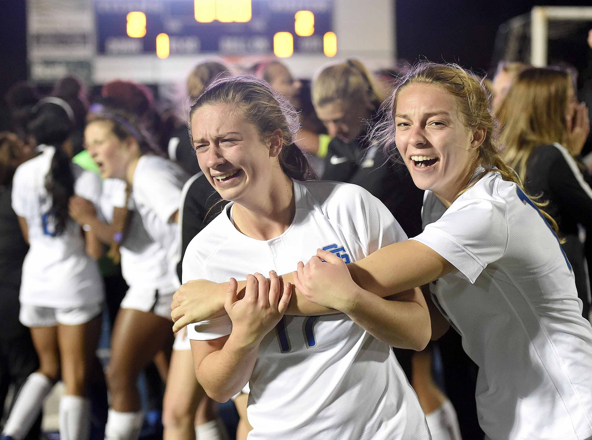 The Ocean Springs Lady Greyhounds celebrate after beating Madison Central 1-0 on penalty kicks after overtime periods in the Class 6A championship in the MHSAA BlueCross Blue Shield of Mississippi Soccer Classic on Saturday, February 9, 2019, at Ridgeland High School in Ridgeland, Miss.