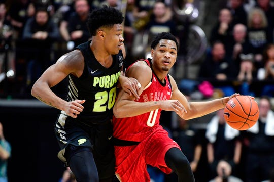 Feb 9, 2019; West Lafayette, IN, USA; Nebraska Cornhuskers guard James Palmer Jr. (0) drives the ball down court against Purdue Boilermakers guard Nojel Eastern (20) during the first half of the game at Mackey Arena. Mandatory Credit: Marc Lebryk-USA TODAY Sports