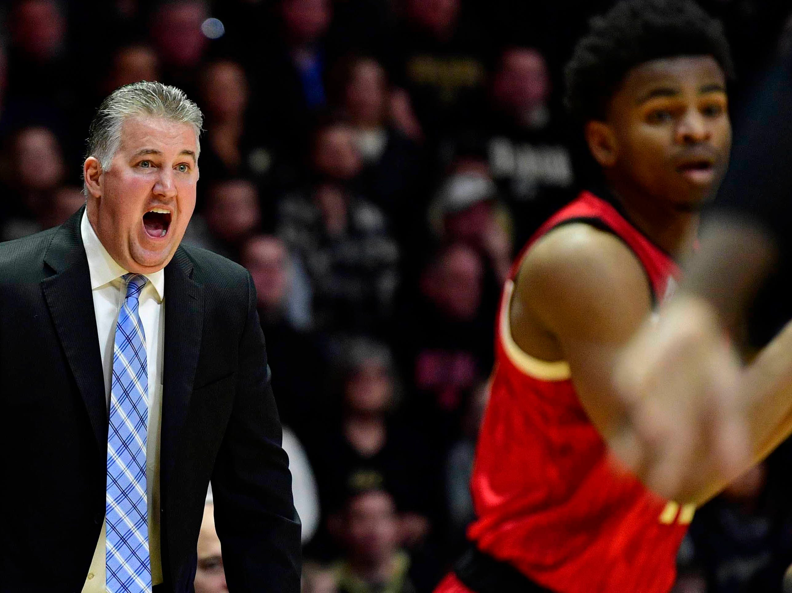 Feb 9, 2019; West Lafayette, IN, USA; Purdue Boilermakers head coach Matt Painter yells at his team during the first half of the game against the Nebraska Cornhuskers at Mackey Arena. Mandatory Credit: Marc Lebryk-USA TODAY Sports