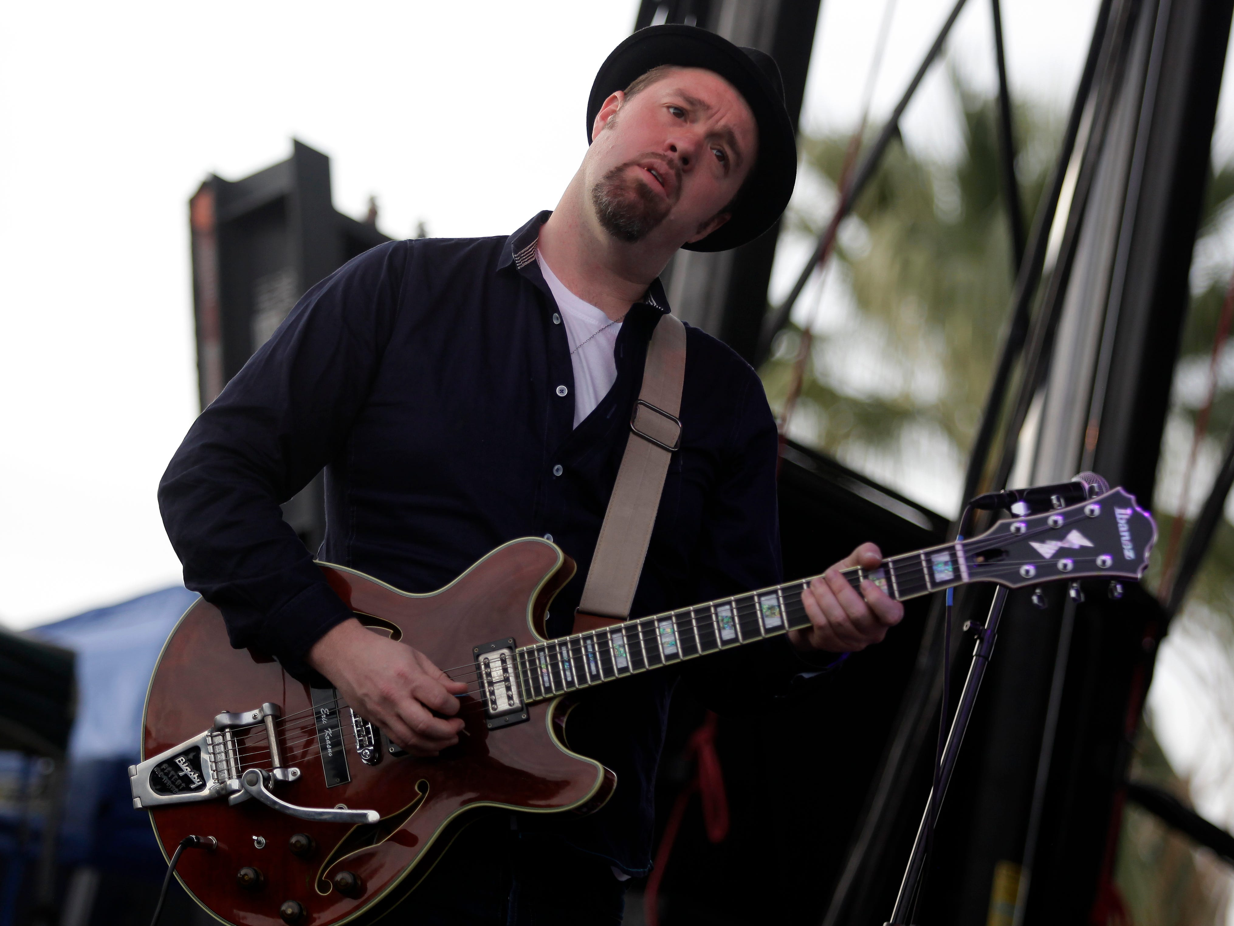 Eric Krasno of Lettuce performs at the McDowell Mountain Music Festival, on Friday, March, 28, 2014 in Phoenix, Arizona. (Photo by Rick Scuteri/Invision/AP)
