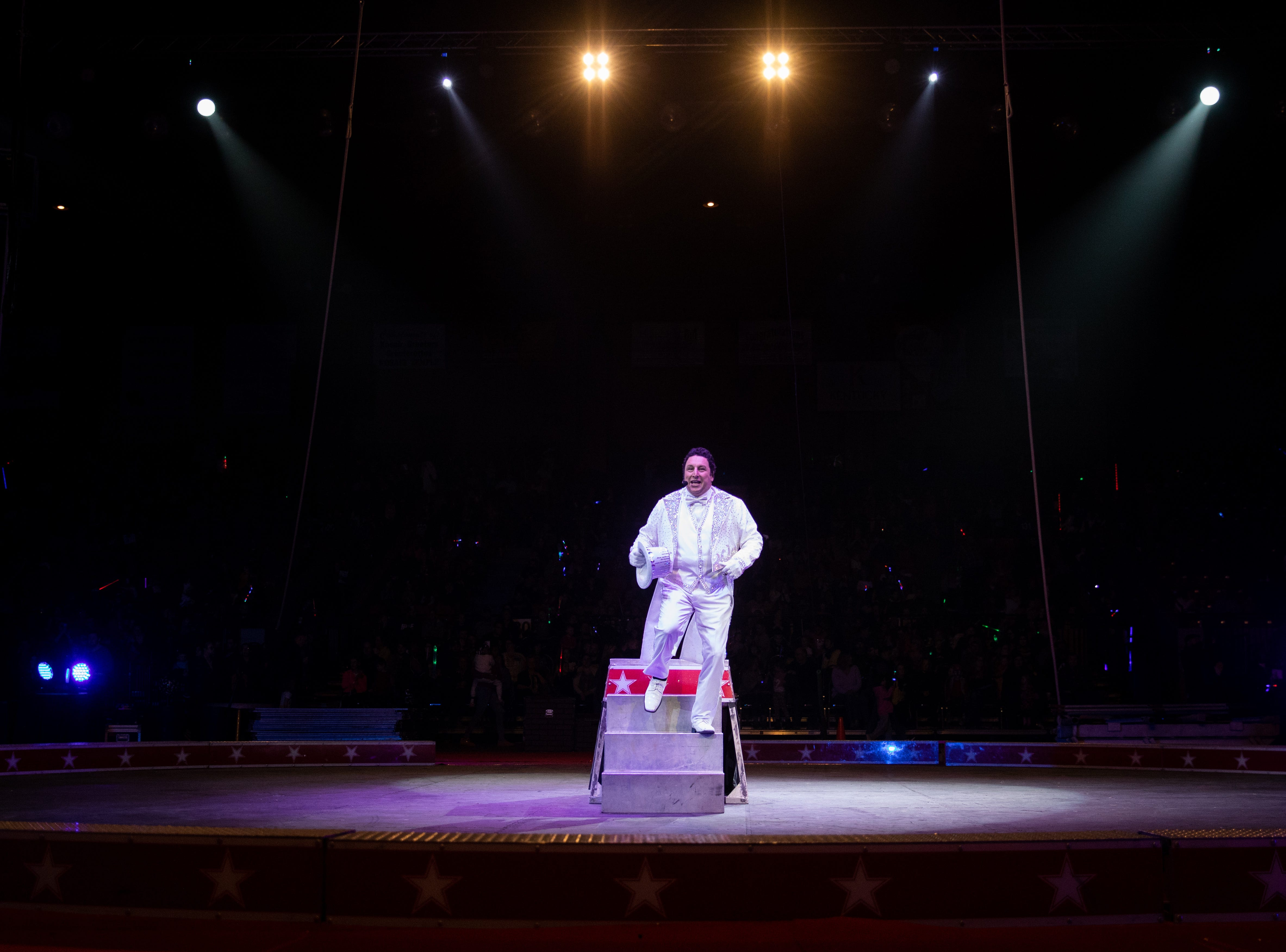 Ringmaster completes the show as he leaves the podium ending the Kosair Shrine Circus, Saturday, Feb. 9, 2019 in Louisville Ky.