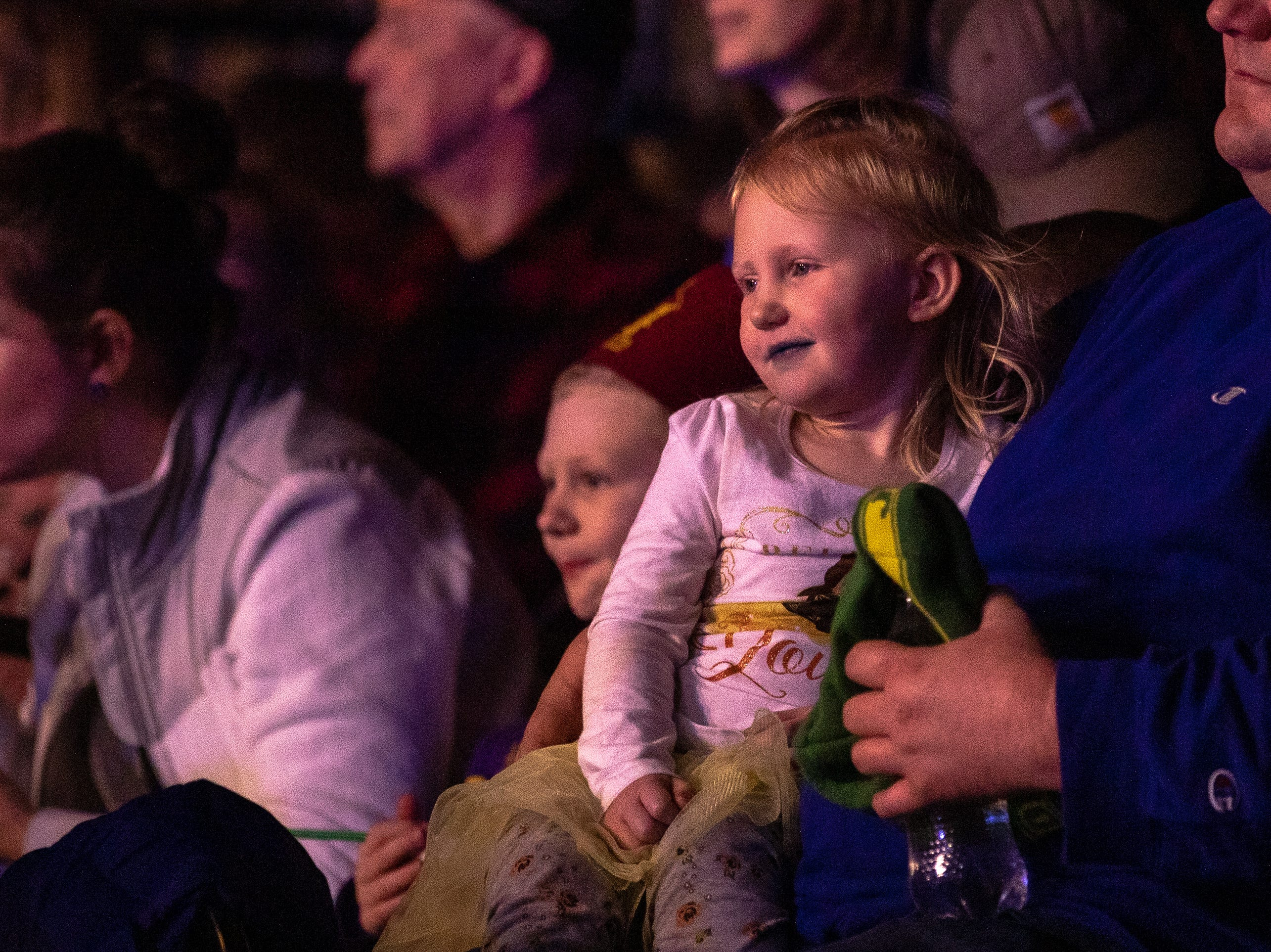 Someone may have had some blue cotton candy at the Kosair Shrine Circus, Saturday, Feb. 9, 2019 in Louisville Ky.