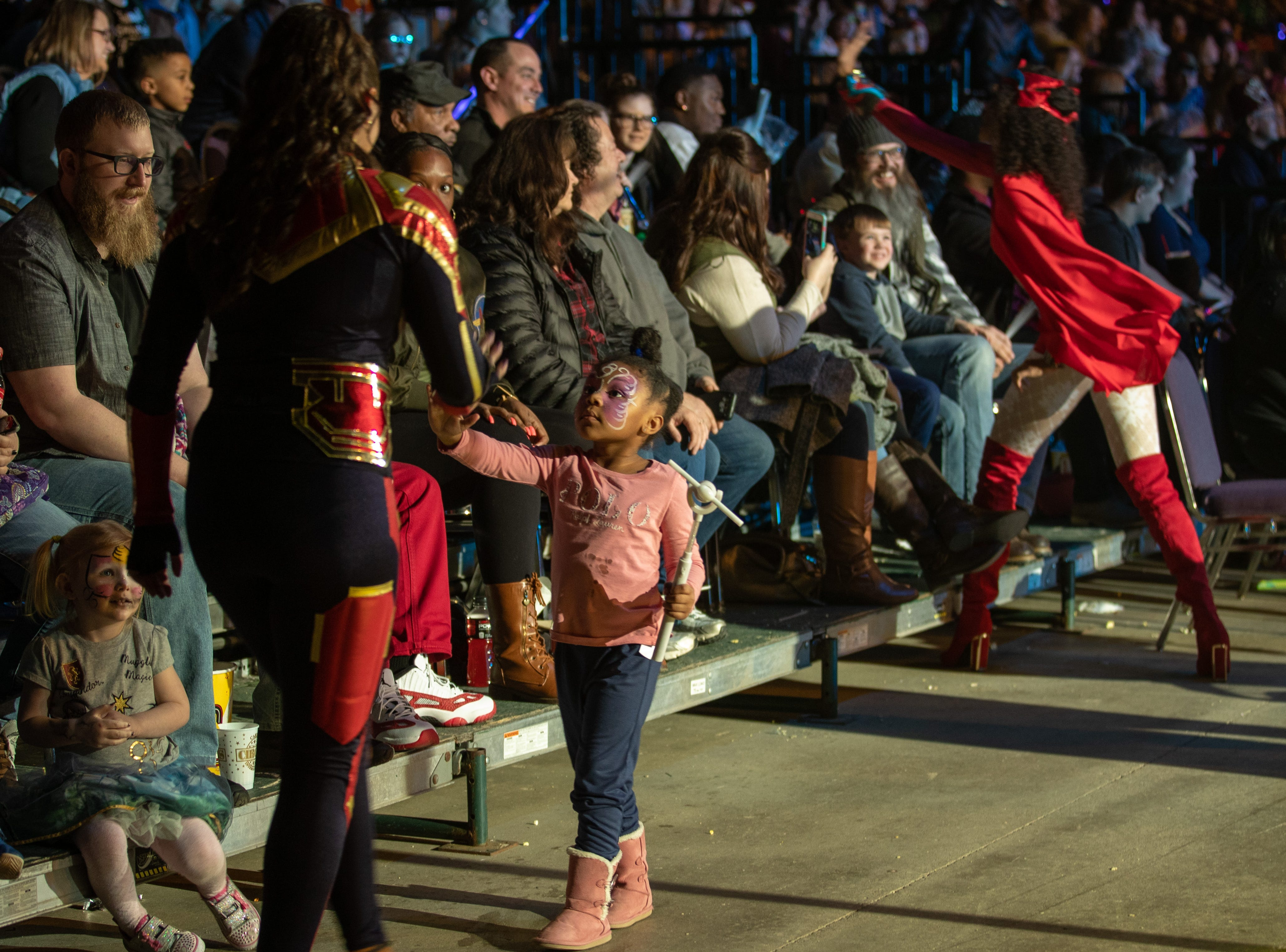 Superheroes come out to thank the crowd at the Kosair Shrine Circus, Saturday, Feb. 9, 2019 in Louisville Ky.