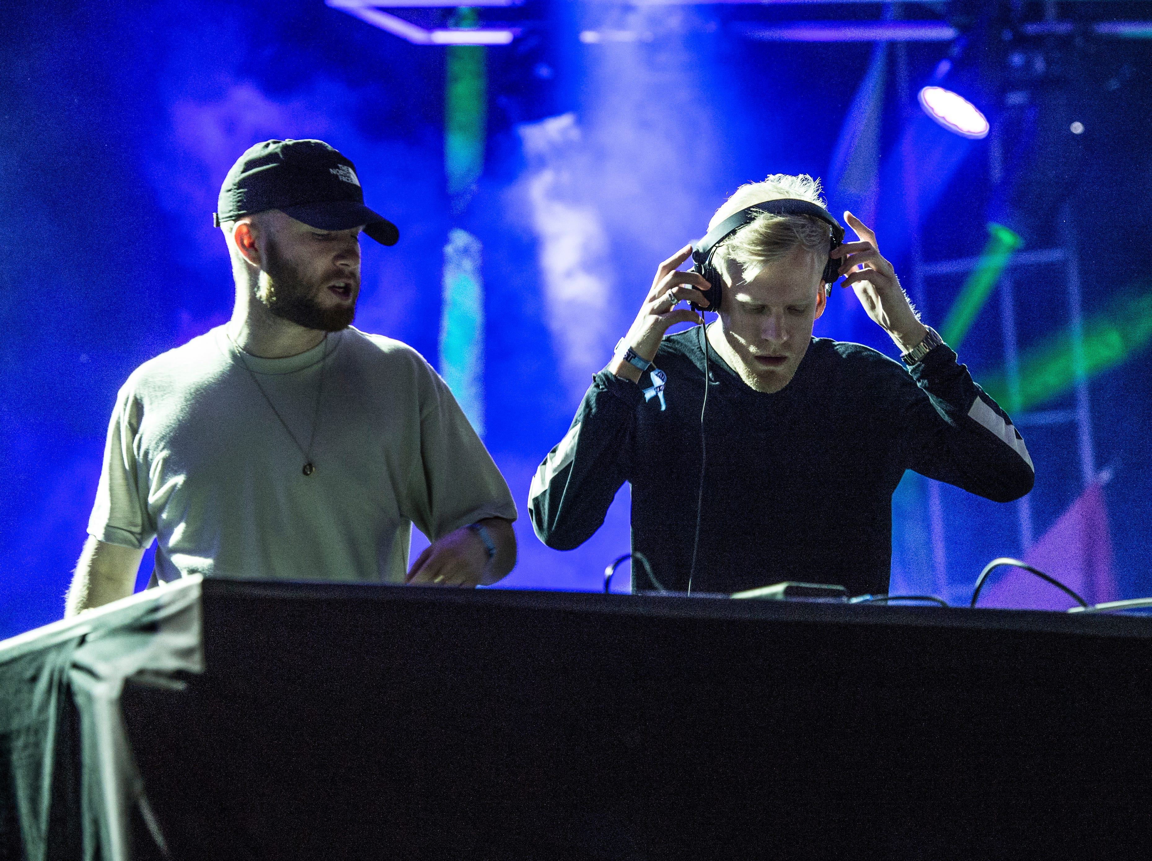 Oliver Lee, left, and James Carter of Snakehips perform at the Okeechobee Music and Arts Festival on Friday, March 3, 2017, in Okeechobee, Fla. (Photo by Amy Harris/Invision/AP)