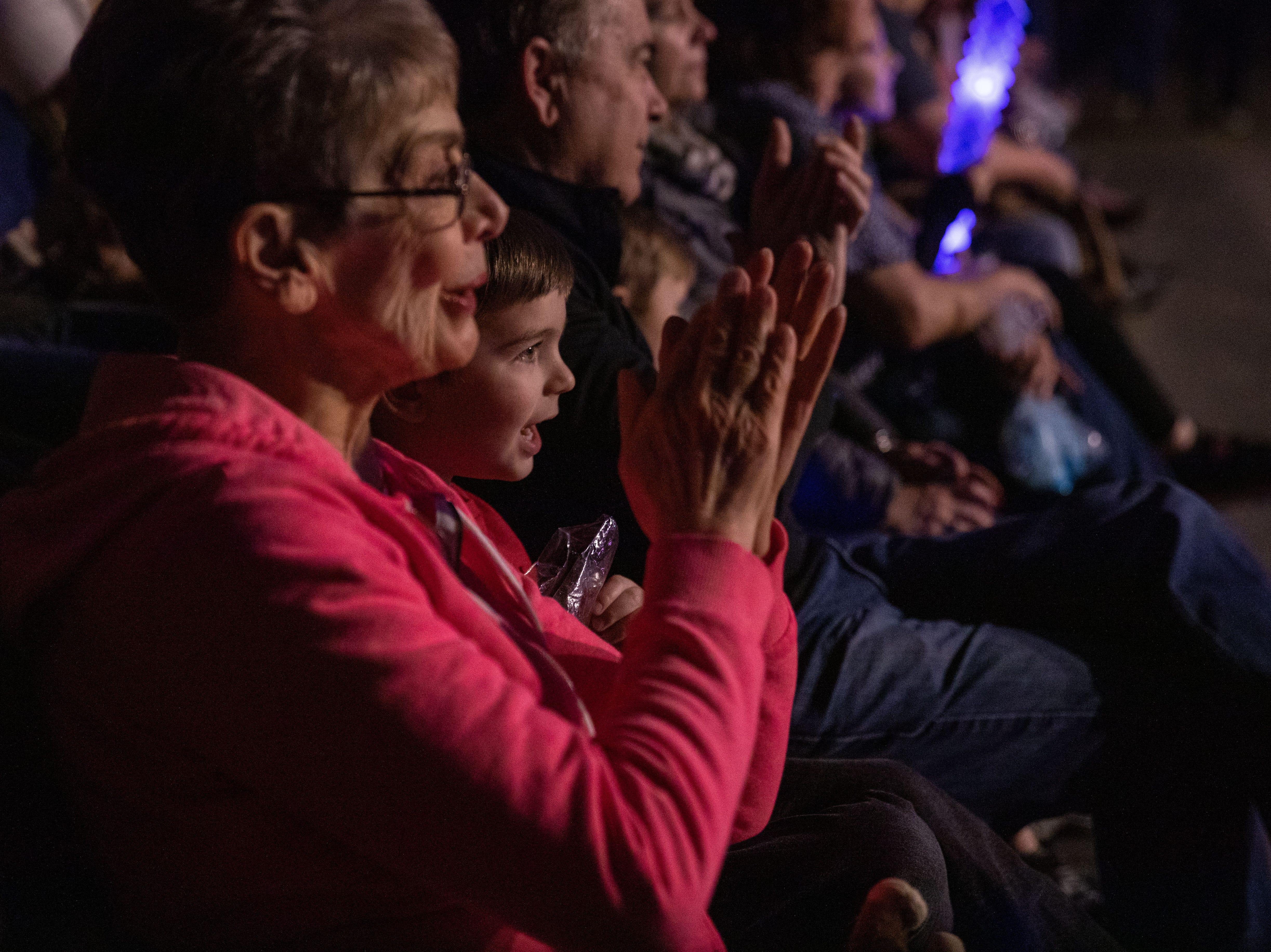 Spectators, young and young-at-heart, applaud the performers at the Kosair Shrine Circus Saturday, Feb. 9, 2019 in Louisville Ky.