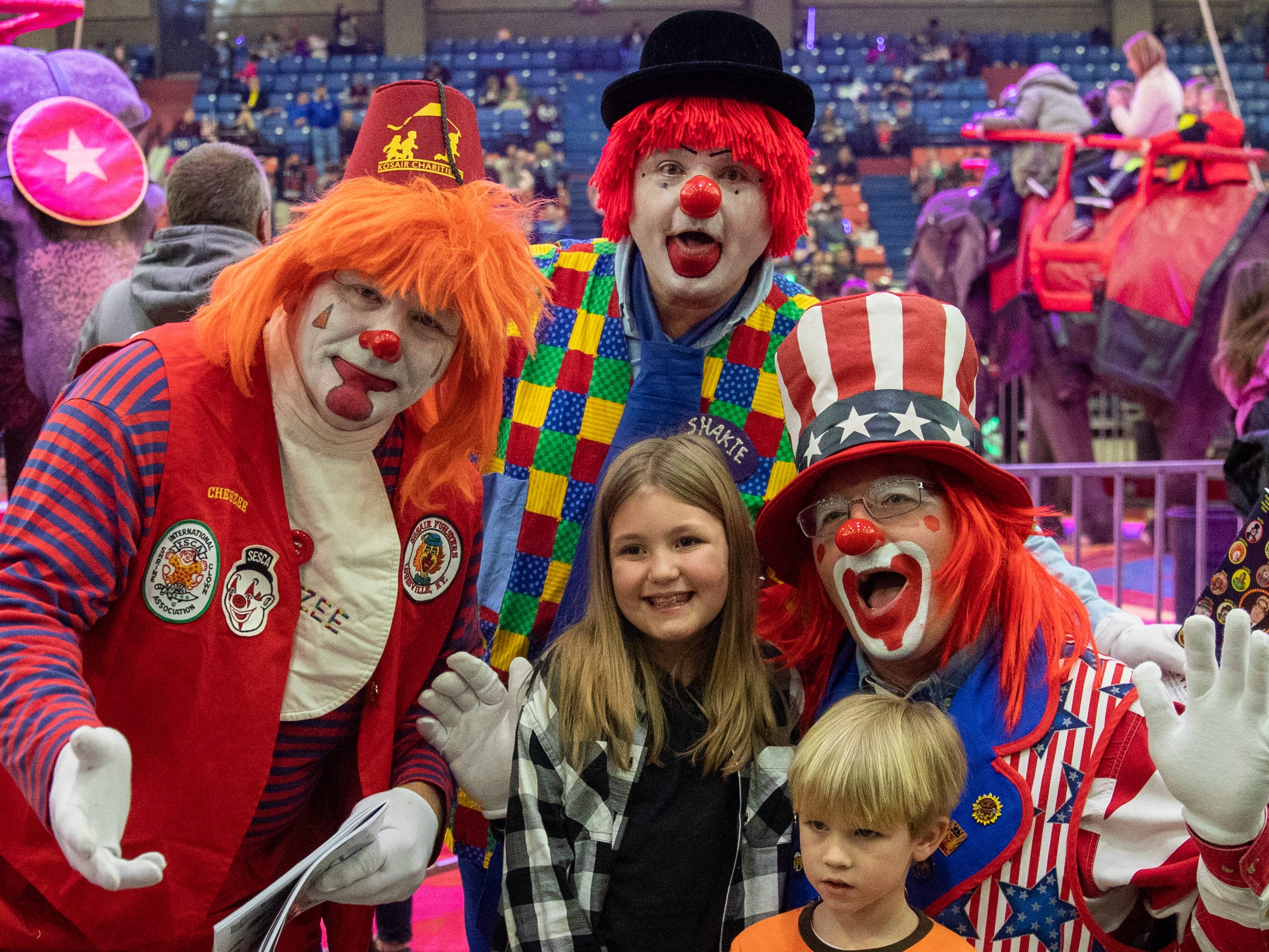 Clowning around for photos during intermission of the Kosair Shrine Circus, Saturday, Feb. 9, 2019 in Louisville Ky.