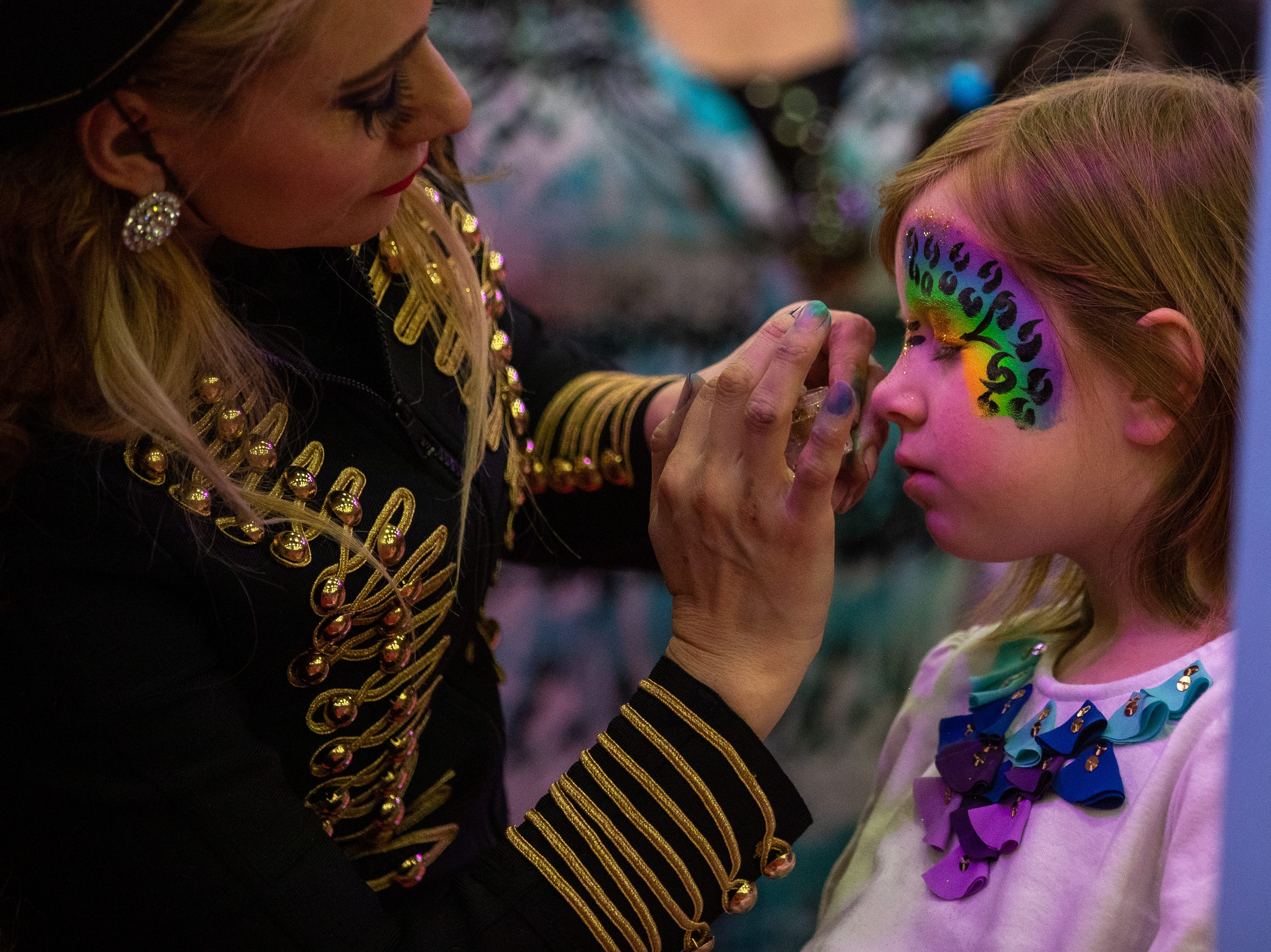 More rainbow cheetah artwork was created at the face painting station during intermission of the Kosair Shrine Circus, Saturday, Feb. 9, 2019 in Louisville Ky.